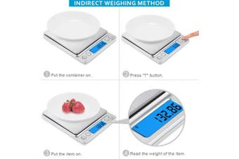 (Sliver) - [Upgraded] AMIR Digital Kitchen Scale, 500g/ 0.01g Mini Pocket Jewellery Scale, Cooking Food Scale, Back-Lit LCD Display, 2 Trays, 6 Units, Auto Off, Tare, PCS, Stainless Steel, Batteries Included