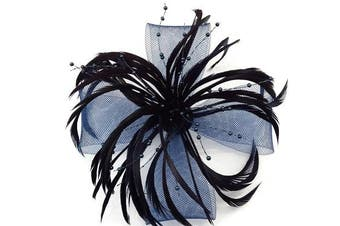 (Navy Blue) - Stunning Feather & Net Bow with Pearl Fascinator Hair Clip Corsage