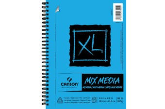 (14cm  x 22cm ) - Canson XL Series Mix Media Paper Pad, Heavyweight, Fine Texture, Heavy Sizing for Wet or Dry Media, Side Wire Bound, 44kg, 14cm x 22cm , 60 Sheets