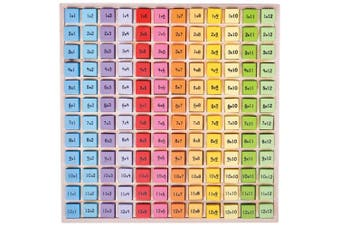 Bigjigs Toys Colourful Wooden Times Table Tray, ideal for Educational Purposes and Early Learning