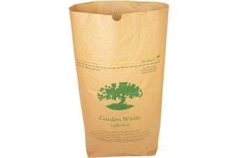 (10 sacks) - Alina 10 x 75L Compostable Paper Garden Sack/Bin Liner/Biodegradable Brown 75 Litre Paper Compost Sack Composting Guide (10 sacks)