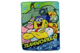 "(Spongebob Squarepants (Teamwork)) - Kids Super Plush Sherpa Throw Blanket, 120cm x 130cm (Spongebob Squarepants ""Teamworked"")"