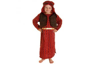 FANCY DRESS KIDS BOYS BROWN & RED SHEPHERD NATIVITY COSTUME - SMALL AGES 4-6