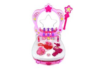 Glamour Vanity Girls Dressing Table Set Induction Makeup Accessories Pretend Princess Toy Music Lights Sound Children Christmas Gift Set + Drawer