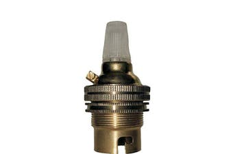 (Nylon Cord Grip, 1 off) - Bayonet Cap (B22) Lamp Holder in Brass with Shade Ring and Nylon Cord Grip