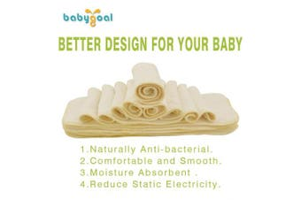 (12FX) - Babygoal Baby Cloth Nappy Inserts,3 Layers Antibacterial Viscose from Bamboo Liners,12pcs Reusable Inserts(Ship from CA, US)