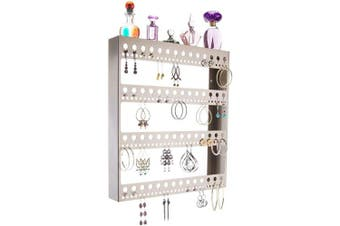 (Rose 18x14.5 Large with Shelf, Satin Nickel Silver) - Angelynn's Large Long Dangle Hoop Earring Holder Jewellery Organiser Wall Mount Display Closet Storage Rack Shelf, Rose Satin Nickel Silver