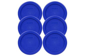 (6) - Pyrex 7202-PC Round 1 Cup Storage Lid for Glass Bowls (6, Cobalt Blue)