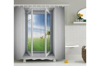 (180cm  W By 210cm  L, Multi 15) - Ambesonne House Decor Collection, Open Window with A Green Field Outdoors Butterfly Landscape Grassland Design Pattern, Polyester Fabric Bathroom Shower Curtain, 210cm Extra Long, Green Blue White