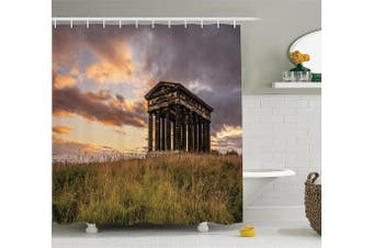 (180cm  W By 210cm  L, Multi 14) - Ambesonne Home Decor Collection, Ancient Greek Monument at Sunset Sky Landscape with Dark Scenery Europian Heritage Rurals , Polyester Fabric Bathroom Shower Curtain, 210cm Extra Long, Multi