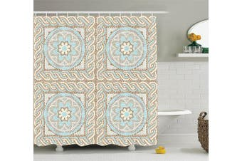 (180cm  W By 190cm  L, Multi 11) - Ambesonne Antique Decor Collection, Mosaic Tile Design with Floral Elements Twists and Multi-Coloured Circular Pattern, Polyester Fabric Bathroom Shower Curtain, 190cm Long, Cream Brown Blue