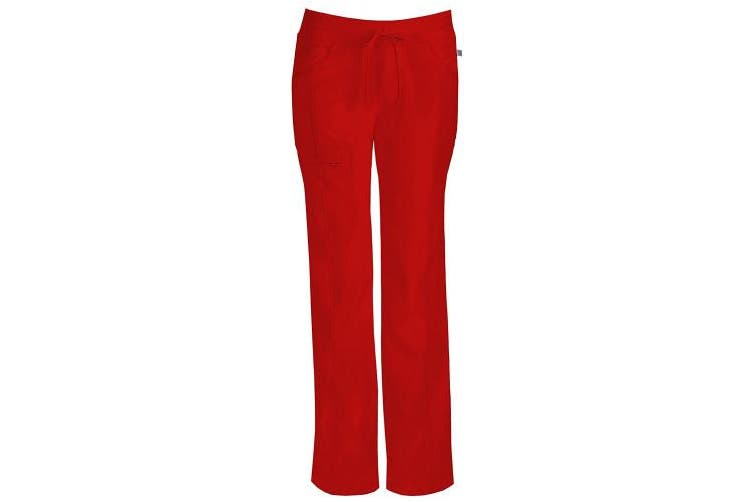 (Small Tall, Red) - Cherokee Women's Tall Infinity Low-Rise Straight Leg Drawstring Pant