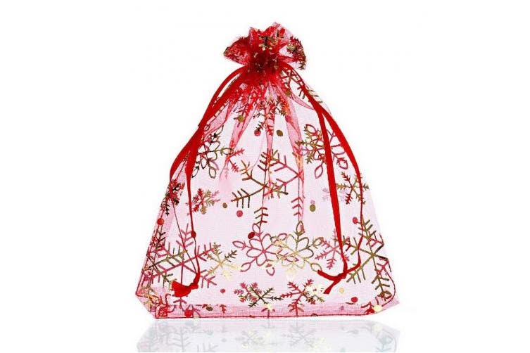 HOUSWEETY 25PCs Red Snowflake Organza Gift Bags Pouches Wedding Christmas Gift,12cm x16cm
