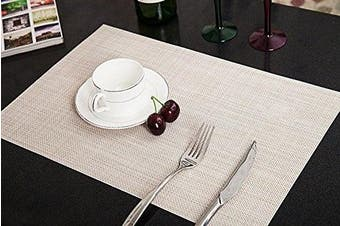 (Beige) - Addfun®Table Mats Set of 6,New PVC Insulation Non-slip Insulation Washable Placemats Beige