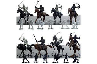 28 Pieces Knight & Horses Soldier Toys Army Men Action Figures, 7.6cm