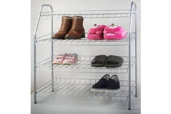 (Silver) - All For You 4 Tier Shoe Rack Show Organisers Space Saving Shoe Tower Storage Cabinet - Composite Utility Shoe Racks (silver)