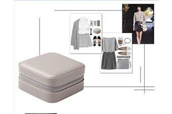 (Grey) - Vlando Small Portable Travel Jewellery Box with Mirror (Grey)