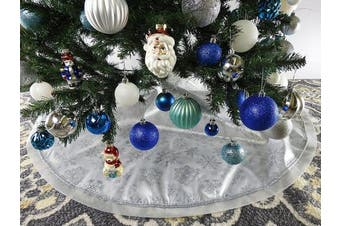 (Px1. White) - 120cm White Fabric With Silver Glitter Christmas Tree Skirt - White