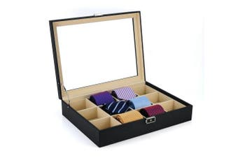 Tie Display Case for 12 Ties, Belts, and Men's Accessories Black Carbon Fibre Storage Box