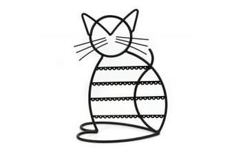 (Black) - Cat Shape Metal Wire Earring Holder by ARAD (BLACK)