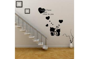 (Love Cats) - ChezMax DIY Wall Sticker Decal Mural Removable Self Adhesive Paper Art Deco Love Cats 38cm x 60cm