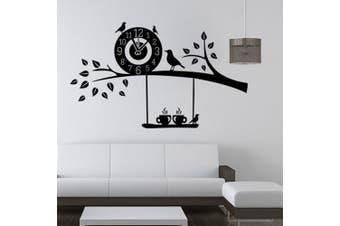 (Bird Clock) - ChezMax DIY Wall Sticker Decal Mural Removable Self Adhesive Paper Art Deco Bird Clock 60cm x 46cm