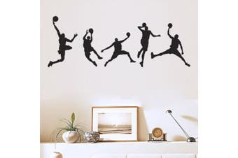 (Basketball Team 1) - ChezMax DIY Removable Wall Decor Waterproof Basketball Pattern Wall Sticker 44cm x 100cm