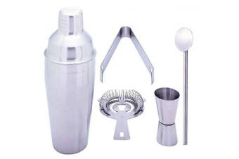 (1) - Gifts Infinity® 5 Piece Stainless Steel Bar Set - 550ml Martini & Cocktail Shaker, Stirrer, Strainer, Double Jigger, and Ice Tongs. (1)