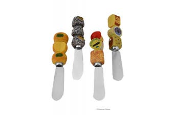 Set 4 Assorted Cheese Wheel Handle Butter Knives Pate Spreaders
