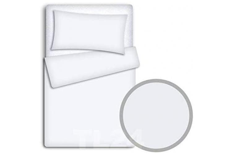 (White) - Baby Bedding Set Pillowcase + Duvet Cover 2PC to FIT Baby COT (White)