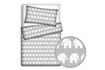 (Elephant grey) - BABY BEDDING SET PILLOWCASE + DUVET COVER 2PC TO FIT BABY COT (Elephants grey)