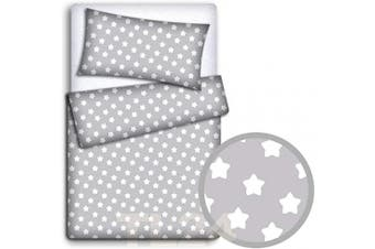 (Big white stars on grey background) - BABY BEDDING SET PILLOWCASE + DUVET COVER 2PC TO FIT BABY COT (Big white stars on grey background)
