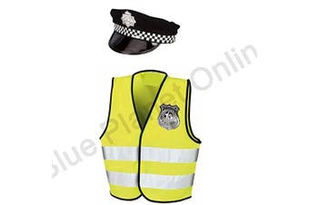 (7-9 Years) - Blue Planet Fancy Dress ® 4-12 Childrens Kids Boys Policeman Police Cop Fancy Dress Costume (Hi Vis Vest,Cap,Badge) (7-9 Years)
