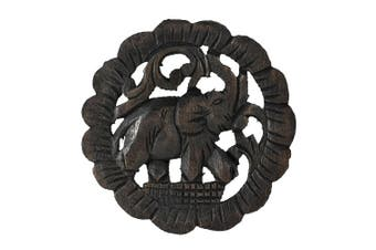 Charging Elephant Round Trivet Hot Plate Hand Carved Teak Wood
