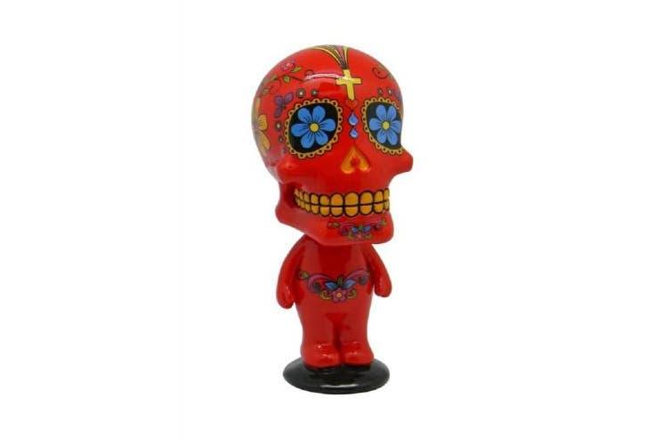 Red Sugar Skull Man Mexican Day of the Dead Bobble Head Figurine