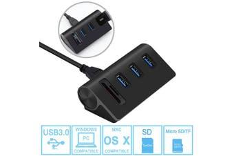 (USB 3.0 3-Port Hub with SD/TF Card Reader(Black)) - USB 3.0 HUB, Cateck Bus-Powered USB 3.0 3-Port Aluminium Hub with 2-Slot Card Reader Combo for iMac, MacBook Air, MacBook Pro, MacBook, Mac Mini, PCs and Laptops, Black