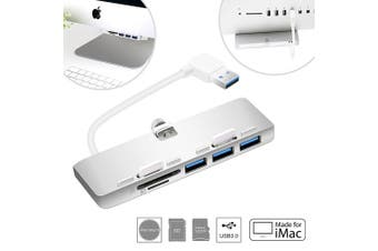 (USB 3.0 3-Port Hub with Card Reader(For iMac)) - Cateck Ultra-thin Premium Aluminium 3-Port USB 3.0 Hub with SD/TF Card Reader Combo Exclusively Designed For iMac Slim Unibody (Upgraded Version)