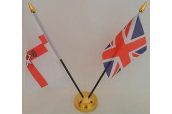 Northern Ireland Red Hand Of Ulster Union Jack 2 Flag Friendship Desktop Table Centrepiece Flag Flags With Gold Base Ideal For Party Conferences Office Display