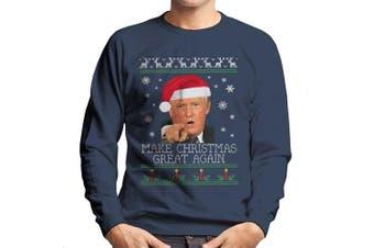(Small, Navy blue) - Make Christmas Great Again Donald Trump Knit Pattern Men's Sweatshirt