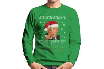 (Medium, Kelly Green) - Make Christmas Great Again Donald Trump Knit Pattern Men's Sweatshirt
