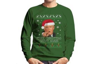 (XX-Large, Bottle Green) - Make Christmas Great Again Donald Trump Knit Pattern Men's Sweatshirt