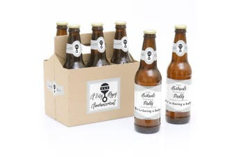 Husbands to Daddy - 6 Pregnancy Announcement Beer Bottle Labels with 1 Beer Carrier