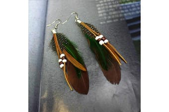 A & C Fashion Bohemia Black Feather Dangle Earrings Jewellery for Women, Hot Sell Indian Feather Eardrop for Girls.