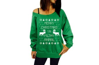 (Large, Green) - CHIC-CHIC Women's Long Sleeve Pullover Sweatshirt Reindeer Printed Christmas T-shirt Tops