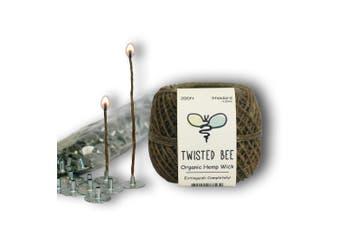 (60m(Standard) x 200pcs) - 100% Organic Hemp Candle Wick + Wick Sustainer Tabs, 23 Bees (60m(Standard) x 200pcs)