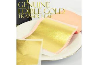 (Large Leaf - 7.9cm  (Transfer) 10 Sheets) - Edible Genuine Gold Leaf Sheets - by Barnabas Blattgold - 7.9cm Booklet of 10 Sheets - Transfer Patent Leaf