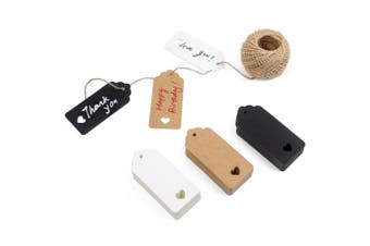 (3 colors) - 150ct Kraft Gift Tags Labels with String (3 Colours)