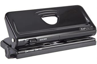 (Black) - Rapesco Adjustable 6-Hole punch for Planners and 6-Ring Binders - Black