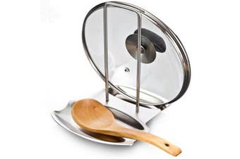 1pcs Stainless Steel Pan Pot Cover Lid Rack Stand Spoon Rest Stove Organiser Storage Soup Spoon Rests Kitchen Tool
