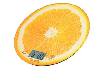 (Orange) - Taylor Precision Products Citrus Glass Kitchen Scale, Orange